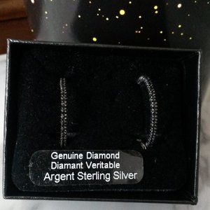 Black and White Diamond Hoop Earrings- NEW